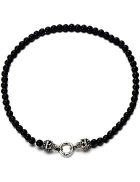 Biker Herren Damen Schwarz Onyx Perlen Halskette Schädel aus Edelstahl mit Schwarzen Zirkonia
