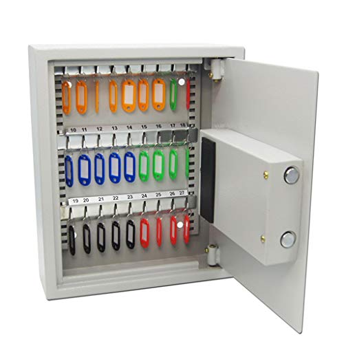 Armoires à clés Boîte de clés 27 48 Bits 71 144 Chiffres Mot de Passe Assurance Boîte à clés Armoire de Gestion des clés de Voiture Clé Murale (Color : Silver, Size : 36 * 12 * 44.5cm)
