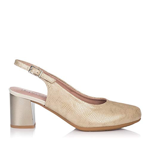 PITILLOS 5550 Zapato Talon Abierto Alto Mujer Oro