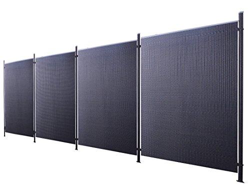 Poly-Rattan Sichtschutz / Zaun-Set 9-teilig schwarz ca. 760cm Prime Tech