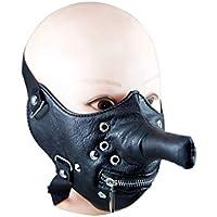 BESTOYARD Bicicleta de la motocicleta Máscara de ciclismo a prueba de viento Máscara de la bicicleta a prueba de polvo Máscara de cremallera de cara media con decoración del remache Nariz larga Divertida máscara de cosplay fresca (Negro)