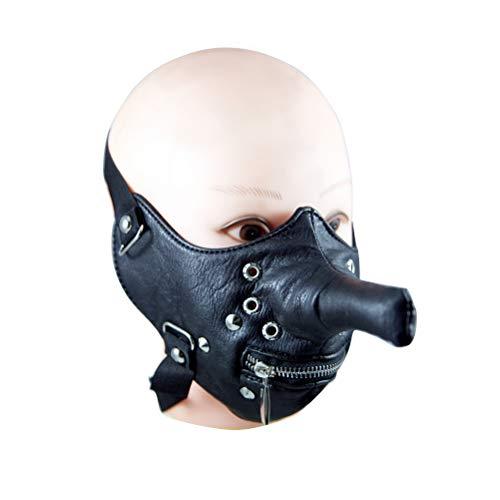 BESTOYARD Halloween Leder Maske Ledermaske Kopfmaske mit Niet und Reißverschluss fürKarneval PartyKostüm Motorrad Radfahren (Schwarz)