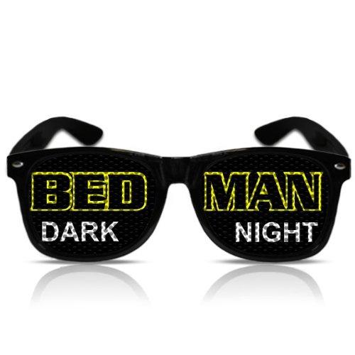(Partybrille Spassbrille Nerdbrille Pornobrille Atzenbrille Partygag Funbrille Fasching Karneval Fasnachtsbrille Batman Bedman dark night (NERD schwarz))
