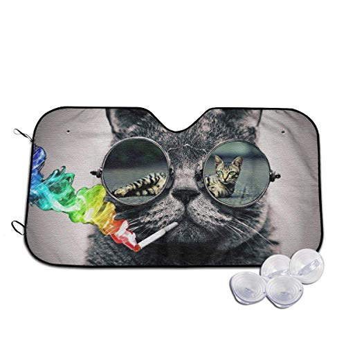 Smoking Cigarette Cat with Glasses Heat Insulation Car Windshield Sun Shade- Keep Your Vehicle Cool-UV Ray Protector Sunshad for Car Auto Sedan Truck SUV (Smoking Socks)