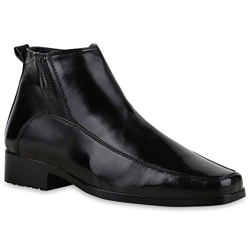 Warm Gefütterte Damen Stiefeletten Lack Boots Lederoptik Schuhe Schwarz Schwarz