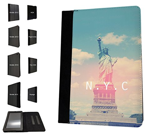 003408 - Statue of Liberty New York NYC Design Amazon Kindle Paperwhite 6'' 2014/2016 TPU Leder Brieftasche Hülle Flip Cover Book Wallet Stand halter Case