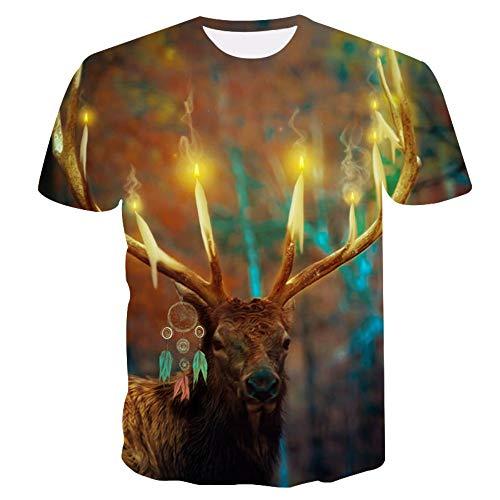 XIAOBAOZITXU T-Shirt con Stampa Digitale 3D Uomini E Donne Estivi Maniche Corte Cervi con Candele Accese Abiti da Coppia Unisex T-Shirt di Grandi Dimensioni Divertenti E Divertenti Sport Larghi L
