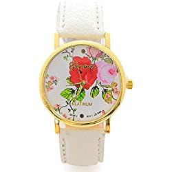 Mallom® Ladies Watch Rose Flower Watch Quartz WristWatches Gift White