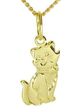 InCollections Damen-Anhänger 333/000 Gold inklusive Panzerkette verstellbar  Katze 36 - 38 cm 7310100021401