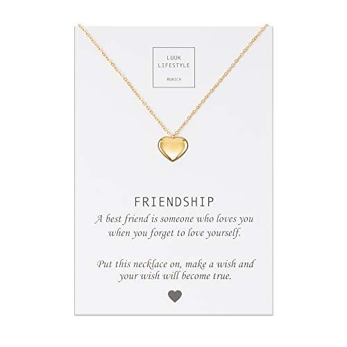 LUUK LIFESTYLE Edelstahl Halskette mit Anhänger und Friendship Spruchkarte, Glücksbringer, Freundschaftskette, Damen Schmuck - Herz Halskette - Gold