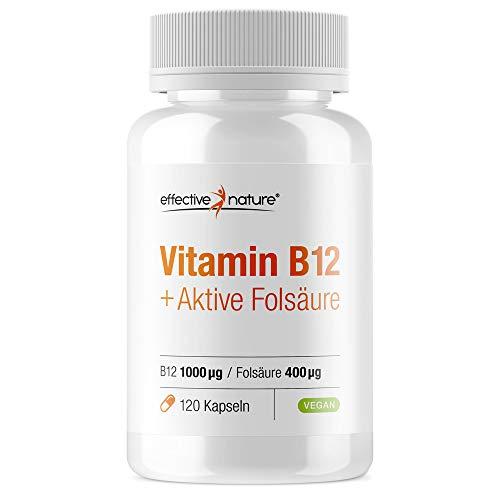 Effective nature - Vitamin B12 & Aktive Folsäure | Deckt 200% des Folsäure-Bedarfs | Mit 3 Vitamin-B12-Verbindungen | Zur Ergänzung während der Schwangerschaft | 120 Vegane Kapseln - Der B12-vitamine Natur Aus