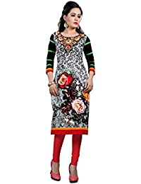 Nakoda Creation 3/4 Sleeve Floral Print Round Neck Cotton Kurti For Women,Multicolor_1412stitched-Parent SKU