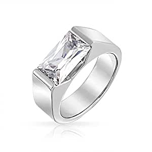 Bling Jewelry Mens Stainless Steel 4ct Emerald Cut CZ Engagement Ring