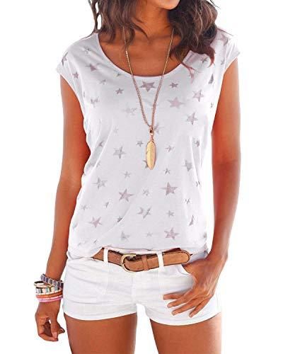 Yoins donna magliette manica corta donna t-shirt in cotone basic camicetta estivo camicia casuale top bianco m/eu36-38
