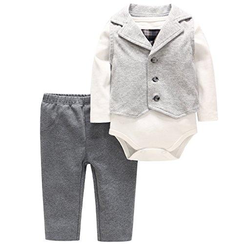 Baby Jungen Gentleman Outifit 3 Stück Langarm Strampler Hosen Weste Kleidung Set 3-6 Monate -