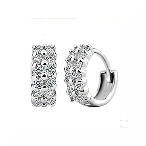 Zircon Silver Plated Stud Earrings (Double)
