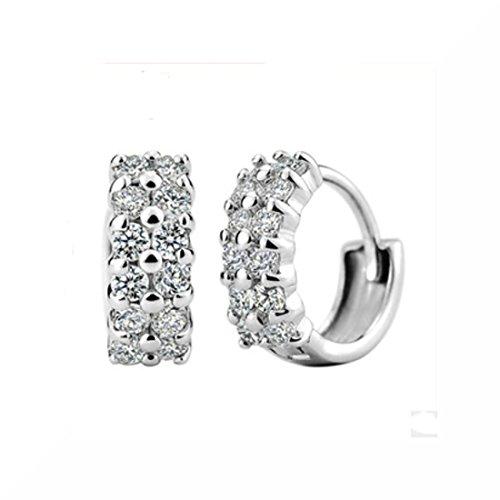 Zircone orecchini a perno, placcati in argento, placcato argento, colore: Double, cod. SFE0121