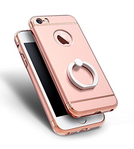 iPhone SE 5S 5 Housses,Housses et étuis téléphones portables, Besta® [Avec anneau Bracket]Ultra-mince 3 en 1 anti-rayures anti-empreintes digitales antichoc Résistez Cracking Electroplated Metal Textu Ring Kickstand/Rose Gold