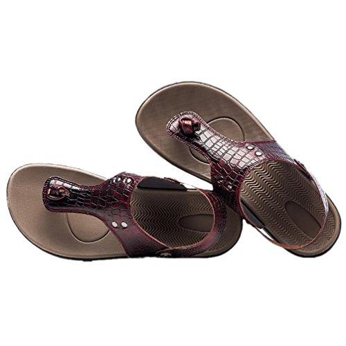 SHANGXIAN Flip estate spiaggia respirabile degli uomini di cadute sandali di cuoio casuali Wine Red