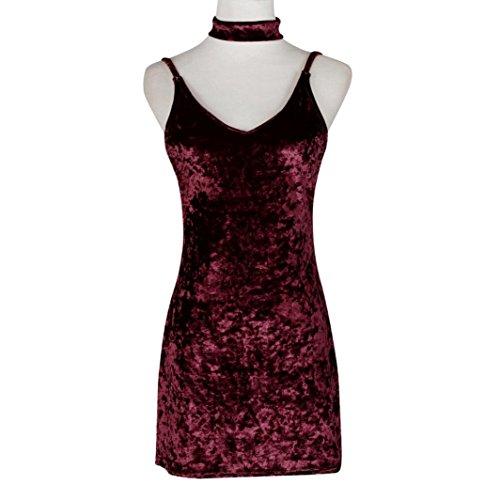 robe femme, Transer ® Femmes Sexy tour de cou robe dos-nu col v profond brillant parti Casual robe de velours Vin