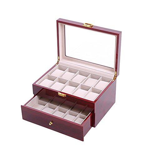Feibrand Legno Scatola Porta Orologi Custodia per 20 Orologi Doppio Cassetto (Rosso)