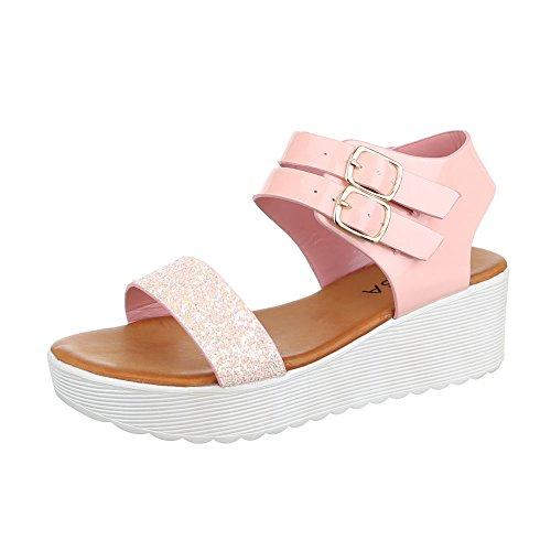 Komfortsandalen Damen Schuhe Römersandalen Keilabsatz/ Wedge Keilabsatz Schnalle Ital-Design Sandalen / Sandaletten Rosa, Gr 39, Hs-6-