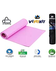 VI FITKIT® Yoga Mat with Free Yoga mat Bag Anti Skid Yoga mat for Gym Workout and Flooring Exercise Long Size Yoga Mat for Men Women