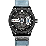 Curren 8301 Men's Watch with Quartz Leather Band Date Display Waterproof Watch - Blue