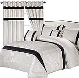 Sunrise Bedding - Juego de Ropa de Cama de 3 Piezas de edredón Acolchado Blanco opulencia, Fundas de Almohada a Juego (Colcha Doble + Cortina de 90 x 90 Anillos)