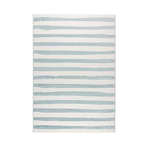 havatex Moderner Teppich Anton Streifen - Blau Weiß | Design Pastell gestreift | Öko-Tex Siegel | Kurzflor für Wohnzimmer Kinderzimmer Babyzimmer, Farbe:Blau, Größe:120 x 170 cm (Streifen-teppich Kinder)