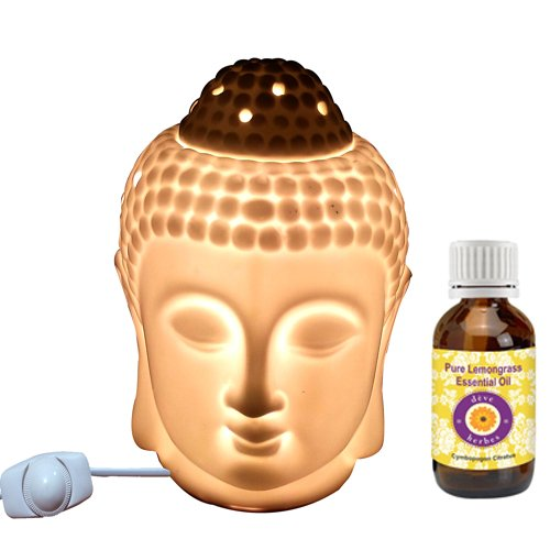 Deve Herbes Electric Buddha Aroma Diffuser Fine Quality Porcelain With Light/ Heat Regulator (With Pure Lemongrass Oil Worth Rs 245)