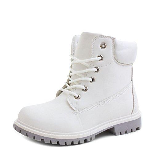 Trendige Unisex Damen Herren Schnür Stiefeletten Stiefel Worker Boots - auch in Übergrößen Weiß/Grau