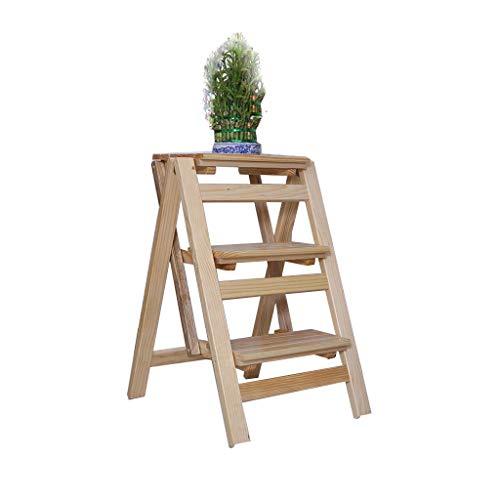Faltender Schritt-Schemel des festen Holzes tragbare 3 Schritt-Leiter-Stuhl-Multifunktionsleiter-aufsteigende Innenleiter-Schritt-hölzerne Leiter-Hauptküche-Hauptdekoration-maximale Dekoration 150kg