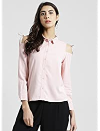 Zink London Womens Collared Solid Shirt_Pink_42