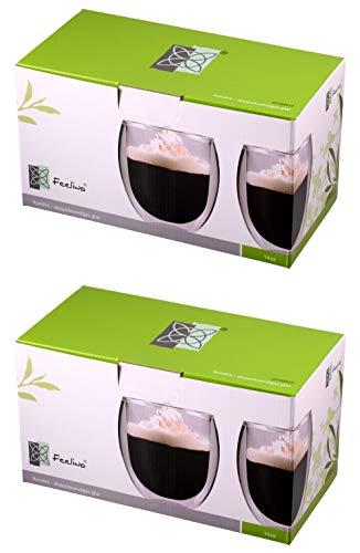 Feelino 4X 400ml doppelwandige Thermo-Teegläser/Kaffeegläser/Teegläser/Vorspeisegläser/Marmeladengläser/Gläserset Rondini extra groß mit Schwebeeffekt