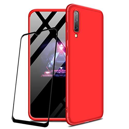 JOYTAG compatibile Cover Samsung Galaxy A50 +Proteggi schermo[2 Packs] 360 gradi Ultra sottile Tutto incluso Protezione 3 in 1 cover del telefono PC case-Rosso