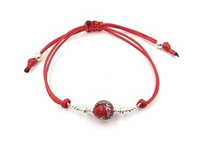 Bracelet en argent et crystal artisanat rouge, perle de 10mm
