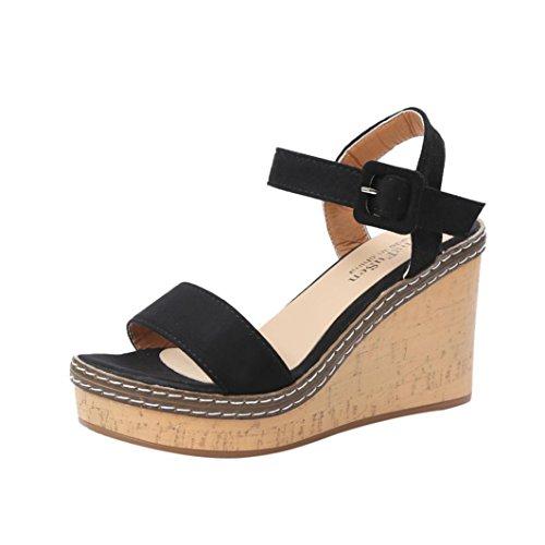 FNKDOR Damen Keilabsatz Sandalen Plattform Peeptoe Schuhe Wedges Sandaletten (39, Schwarz)