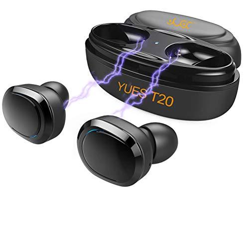 YUES Mini Auriculares Bluetooth 4.2,inalámbrico deportivo a prueba de sudor con micrófono, hasta 8 horas de juego con estuche de carga,compatible con teléfonos iPhone y Android
