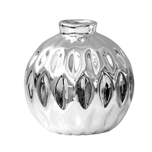 Fenteer Geschenkvase Pflanzen Topf Klein Blumenkübel Pflanzkübel Vase Ornament, Silber - Silber