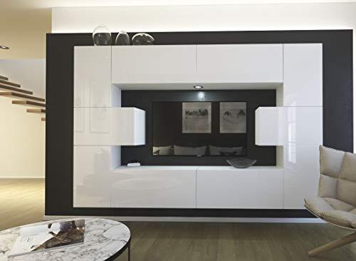Home Direct Monaco N4, Modernes Wohnzimmer, Wohnwände, Wohnschränke, Schrankwand, Möbel AN4-17W-HG22-1A (Front: Weiß Hochglanz/Korpus: Weiß Matt, LED RGB 16 Farben)