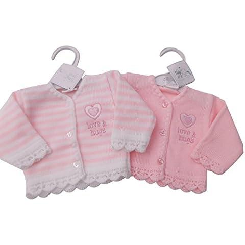 BNWT - Chaquetas de punto para bebés niña prematuros, color rosa