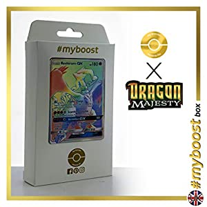 Reshiram-GX 71/70 Arcoíris Secreta - #myboost X Sun & Moon 7.5 Dragon Majesty - Box de 10 cartas Pokémon Inglesas