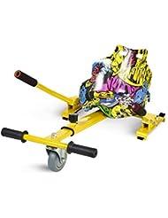 """ECOXTREM Hoverkart, Asiento Kart, Amarillo diseño Hip Hop, con manillares Laterales, Barra Ajustable. Accesorio para patinetes eléctricos Hoverboard 6'5"""", 8"""" y 10"""" para Paseos más cómodos."""