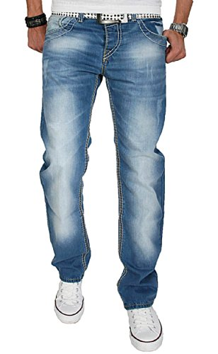 A. Salvarini Herren Designer Jeans Hose m. dicken weiß-gelben Nähten AS04 [AS-04 - W30 L34] (4-pocket-jeans)