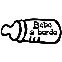 Oedim Pegatina Biberón Bebe a Bordo | 18 x 7,3 cm | Adhesivo de Fácil Colocación | Pegatina para Coche Económica y Resistente