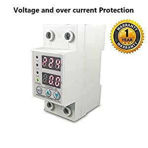 Quick Sense Automatic Single Phase Voltage Protector (Adjustable Setting) Protection with Auto Re-Connect LED Display Standard Din-Rail Mounted 220V, 63A (Voltage Protector)