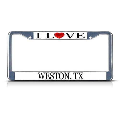 Nummernschild Rahmen I LOVE Herz Weston TX Aluminium Metall Nummernschild Rahmen silber