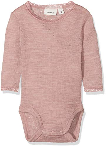 NAME IT Baby-Mädchen Strampler NBFWANG Wool Needle LS Body NOOS, Rosa (Woodrose Detail:Solid), 62