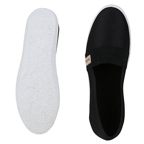 Damen Slipper Metallic Slip-ons Ballerinas Freizeit Schuhe Flats Schwarz Black